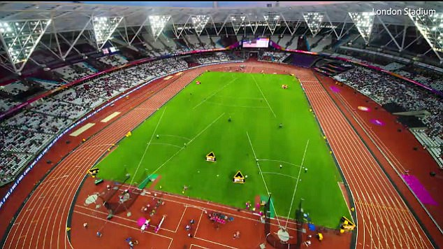 The stadium quickly shifted once more to accommodate the World Athletics Championships