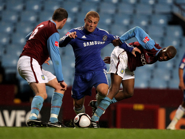 BIRMINGHAM, ENGLAND - APRIL 29: Gokhan Tore of Chelsea is challenged by Ebby Nelson-Addy (R) and Richard Blythe during the FA Youth Cup Final 1st leg between Aston Villa and Chelsea at Villa Park on April 29, 2010 in Birmingham, England. (Photo by David Rogers/Getty Images)