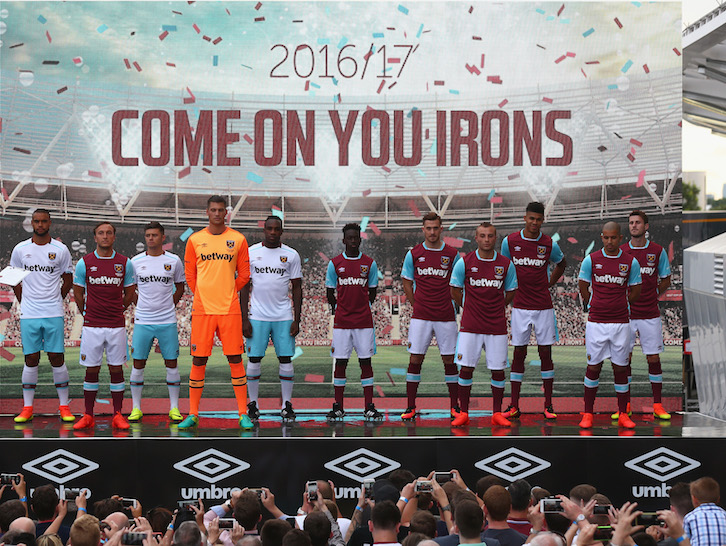 LONDON, ENGLAND - JULY 16: West Ham United players pose in the new West Ham United 2016/17 kits during the West Ham United kit launch event at the West Ham United Stadium Store, Queen Elizabeth Olympic Park on July 16, 2016 in London, England.  (Photo by West Ham United FC/West Ham United via Getty Images)